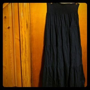 Tiered navy blue maxi skirt